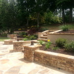 Tiered Retaining Wall, Fire Pit, and Large Patio