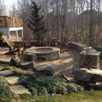 High end natural and stack stone fire pit