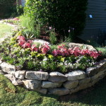 Natural stone retaining wall and flower bed